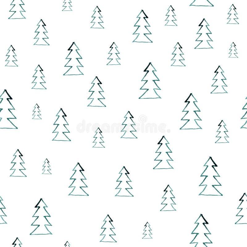 Безшовная картина леса акварели Зеленые деревья на белой предпосылке абстрактная акварель иллюстрации смогите быть использовано д иллюстрация штока