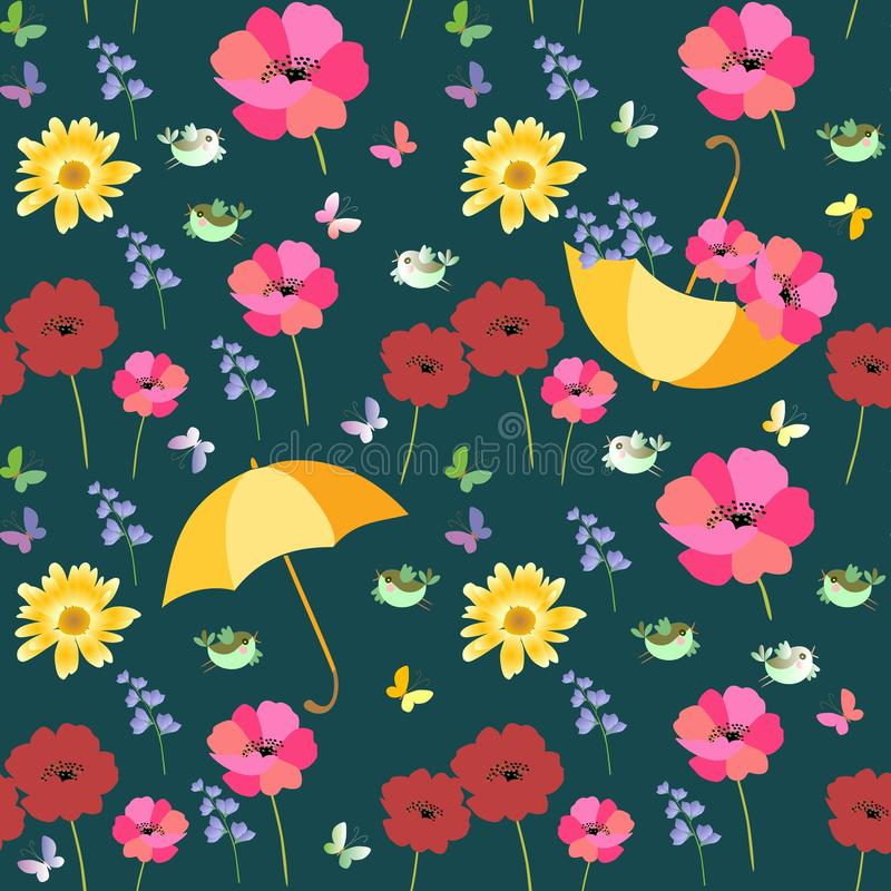 Безшовная картина лета вектора с желтыми зонтиками, красными и розовыми маками, зелеными птицами и multicolor бабочками иллюстрация штока