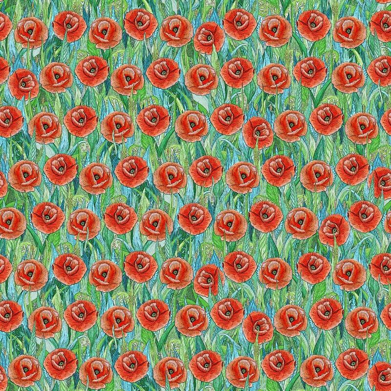 Безшовная картина лета красных маков на траве Красочная предпосылка в форме glade цветка стоковое фото rf