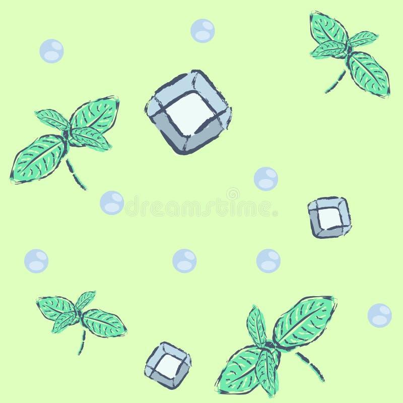 Безшовная картина лета на зеленой предпосылке стоковое изображение