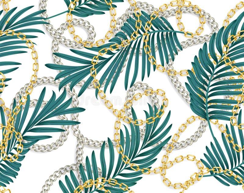 Безшовная картина лета с цепями и тропическими листьями E Ультрамодная печать моды иллюстрация вектора