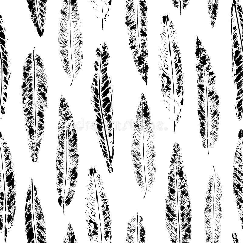 Безшовная картина листьев вербы печати иллюстрация вектора