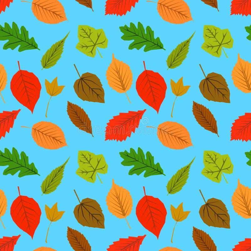 Безшовная картина листьев и на голубой предпосылке Дизайн обоев осени Плоская иллюстрация вектора дизайна бесплатная иллюстрация