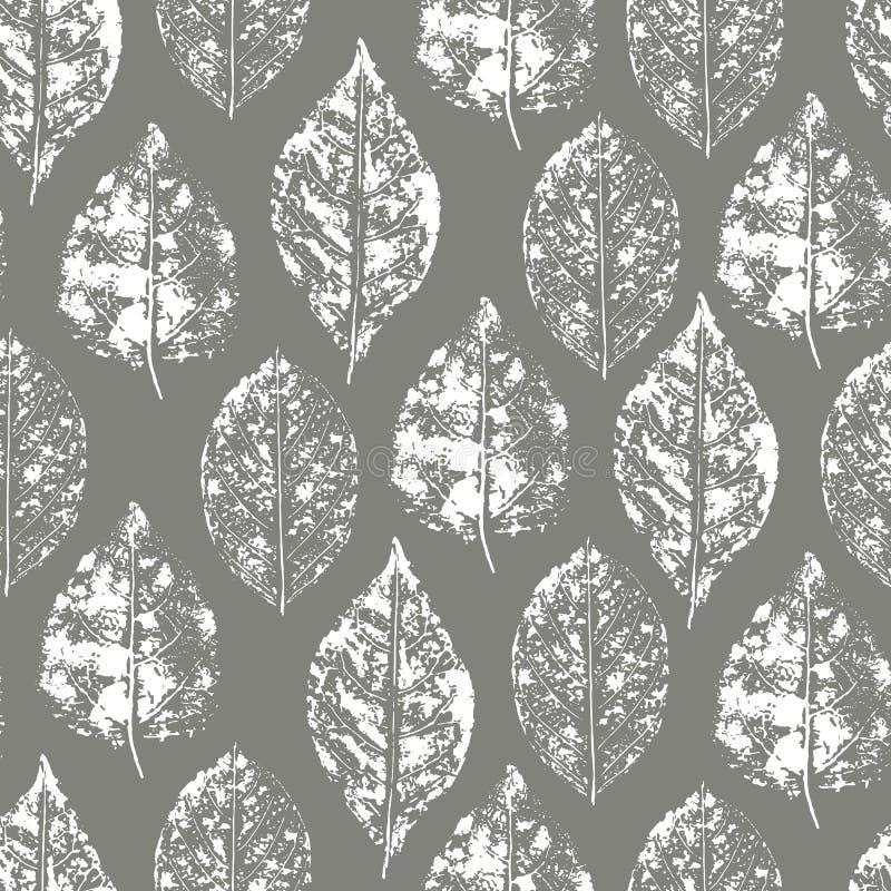 Безшовная картина листьев печати иллюстрация вектора