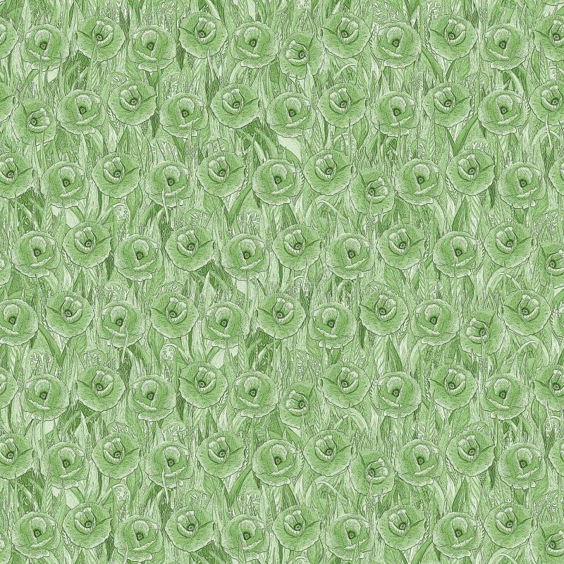 Безшовная картина маков на траве Зеленая предпосылка в форме glade цветка иллюстрация вектора