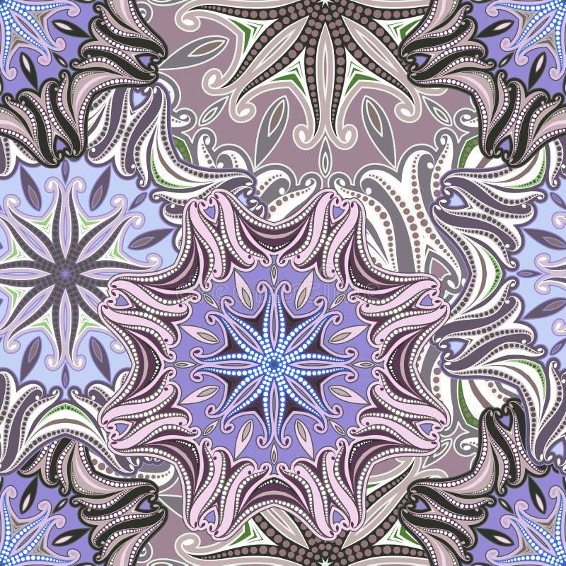Безшовная картина мандалы с восточными мотивами иллюстрация вектора