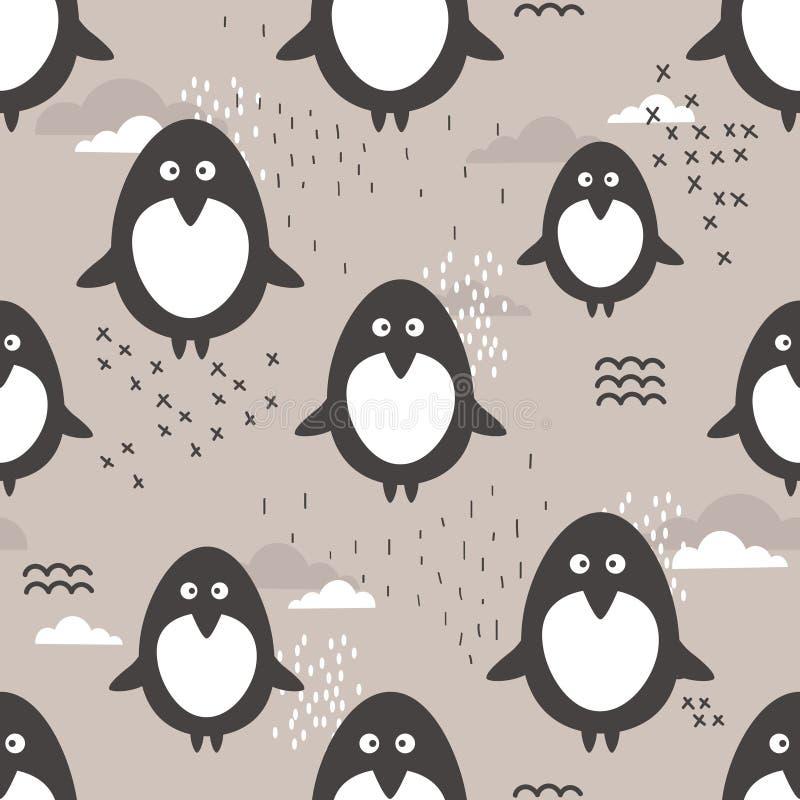 Безшовная картина, милые пингвины Декоративная милая предпосылка с животными бесплатная иллюстрация