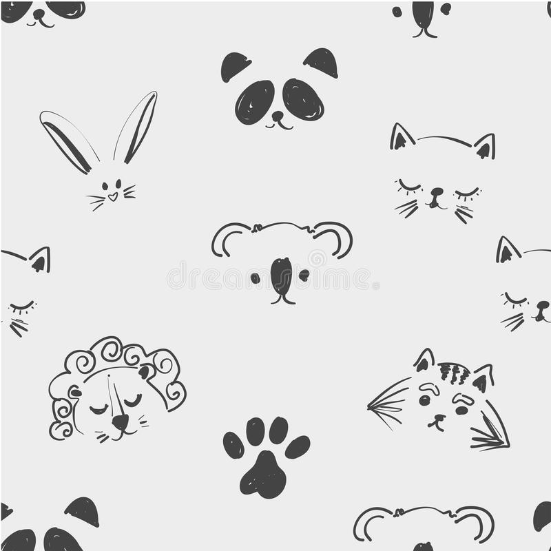 Безшовная картина милых животных сторон для футболки, тетрадей, карточки, ткани, дизайна моды Ультрамодная таблетка иллюстрации бесплатная иллюстрация