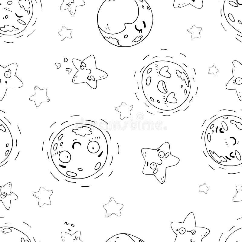 Безшовная картина милых лун и звезд на белой предпосылке иллюстрация вектора