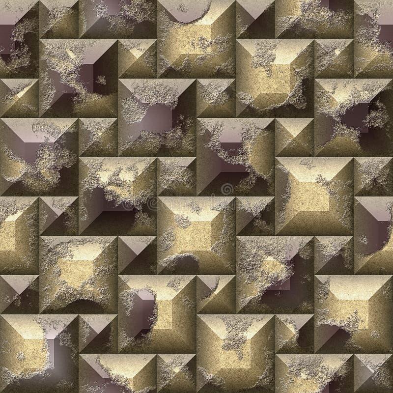 Безшовная картина мозаики сброса 3d поцарапанного золота и коричневых скошенных блоков квадрата и pyramidal бесплатная иллюстрация
