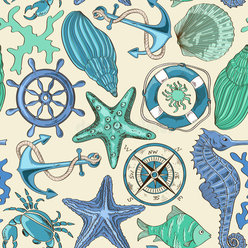 Безшовная картина морских животных и морских элементов бесплатная иллюстрация