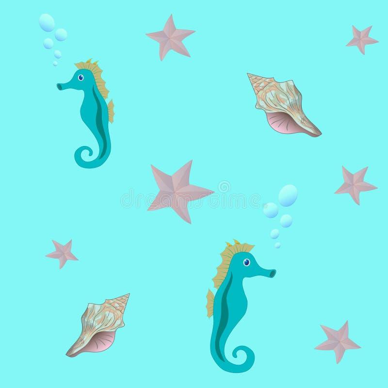 Безшовная картина моря с морским коньком, морскими звёздами, и seashell иллюстрация вектора