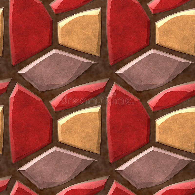 Безшовная картина мостоваой сброса красных, бежевых и желтых камней иллюстрация вектора