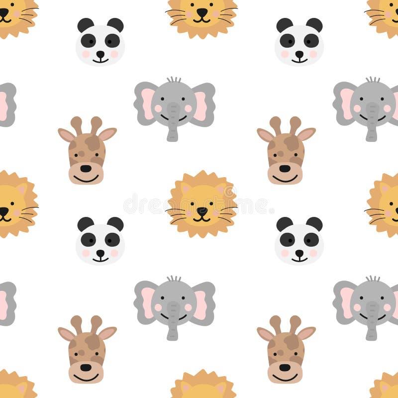 Безшовная картина нарисованных вручную милых животных горячих стран для детей Изображение панды, жирафа, слона, льва на прозрачно иллюстрация вектора