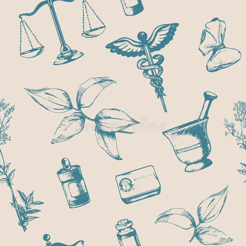 Безшовная картина нарисованных вручную элементов фармации бесплатная иллюстрация