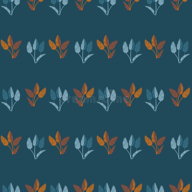 Безшовная картина нашивок вектора с голубыми и оранжевыми листьями на предпосылке teal иллюстрация штока