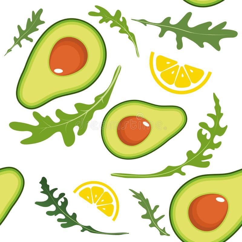 Безшовная картина на белой предпосылке с куском авокадоа, arugula и лимона r иллюстрация вектора