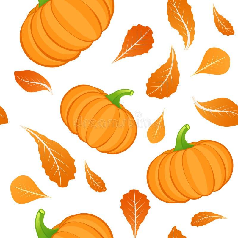 Безшовная картина на белой предпосылке с оранжевой тыквой Овощ тыквы Предпосылка осени r бесплатная иллюстрация