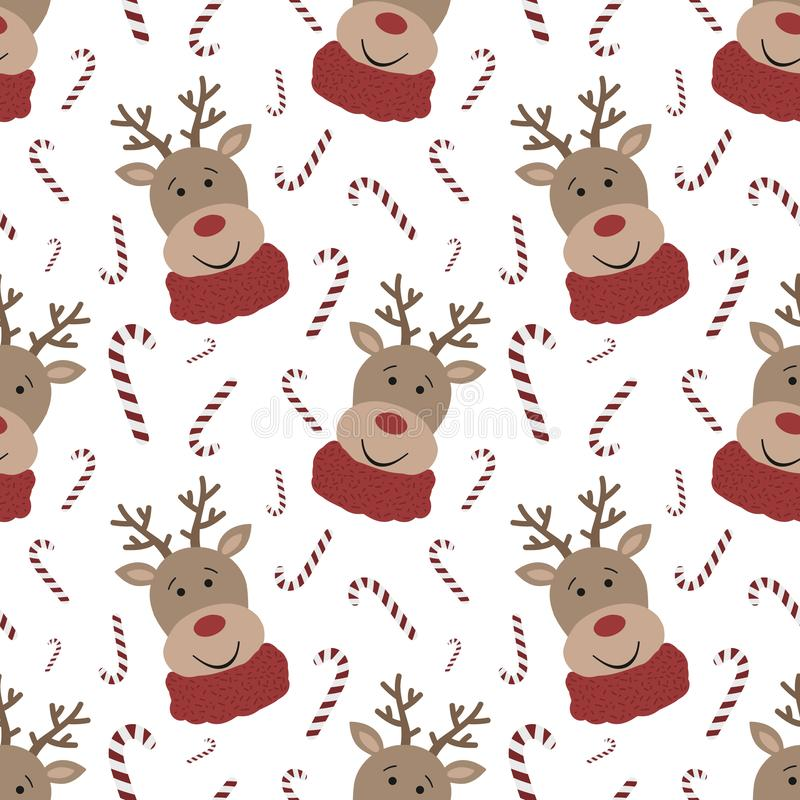 Безшовная картина на Кристмас и Новый Год Иллюстрация вектора нарисованная вручную веселого северного оленя в шарфе и сладких кон иллюстрация штока