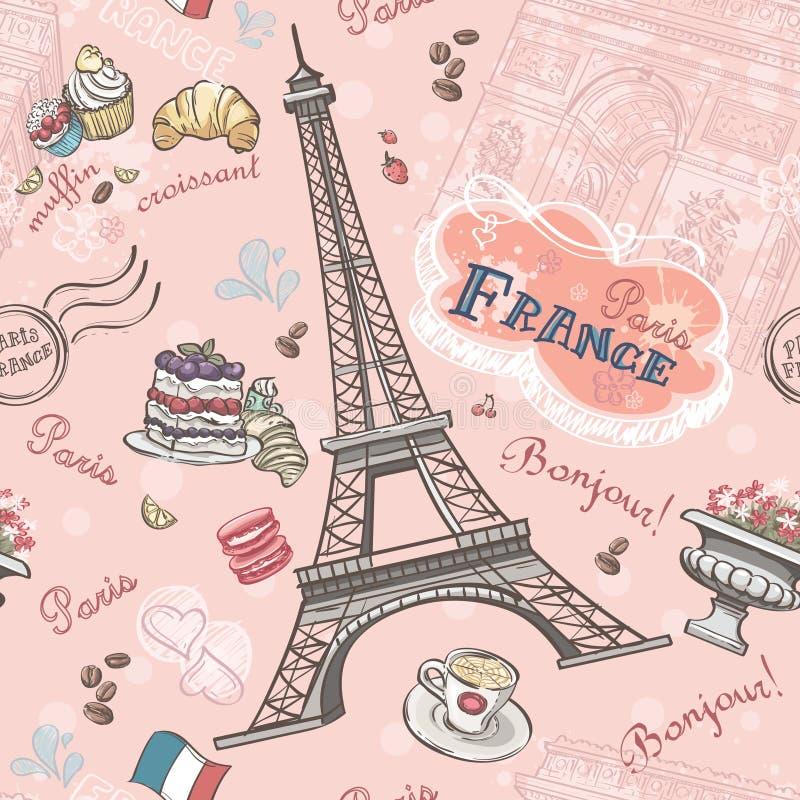 Безшовная картина на Париже от романтичных элементов иллюстрация вектора