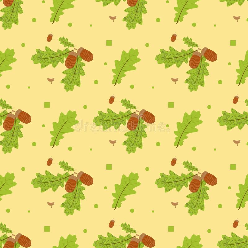 Безшовная картина на предпосылке Ветвь дуба с листьями и жолудями также вектор иллюстрации притяжки corel бесплатная иллюстрация