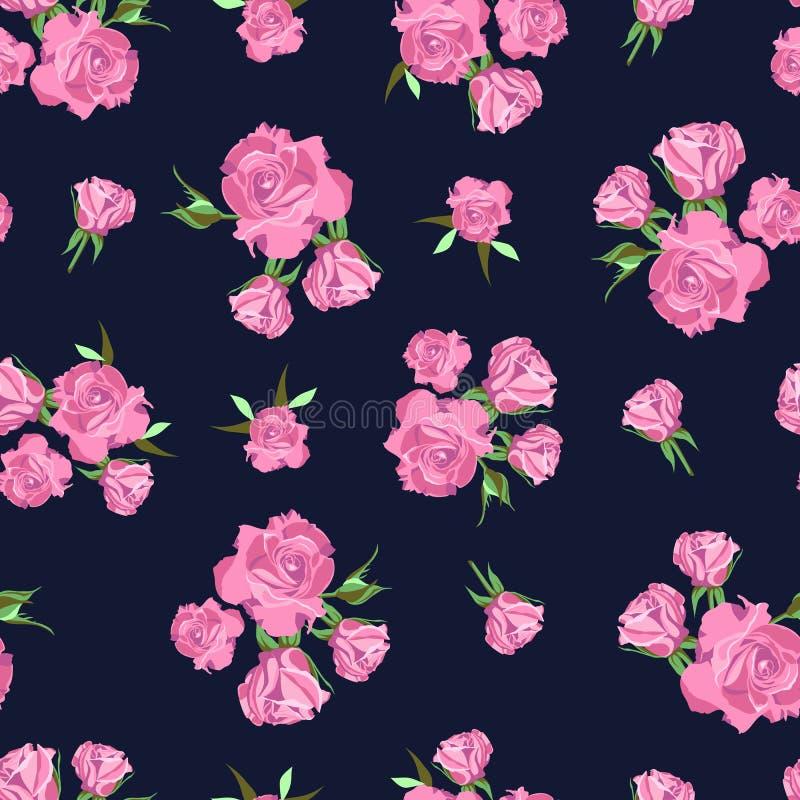 Безшовная картина на синей предпосылке поднимающее вверх близких цветков красотки естественное розовое розовое стоковые изображения