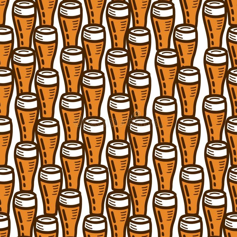 Безшовная картина на теме пива иллюстрация штока