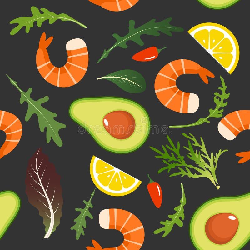Безшовная картина на темной предпосылке с куском креветки, авокадоа, arugula, чилей и лимона Салат креветки с авокадоом иллюстрация штока