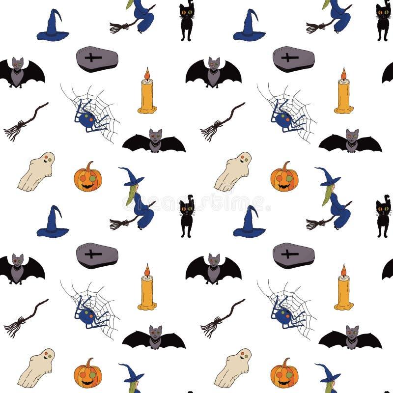 Безшовная картина на halloween Белая предпосылка вектор бесплатная иллюстрация
