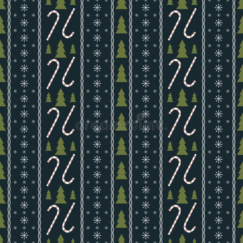 Безшовная картина Нового Года с символами рождества иллюстрация вектора