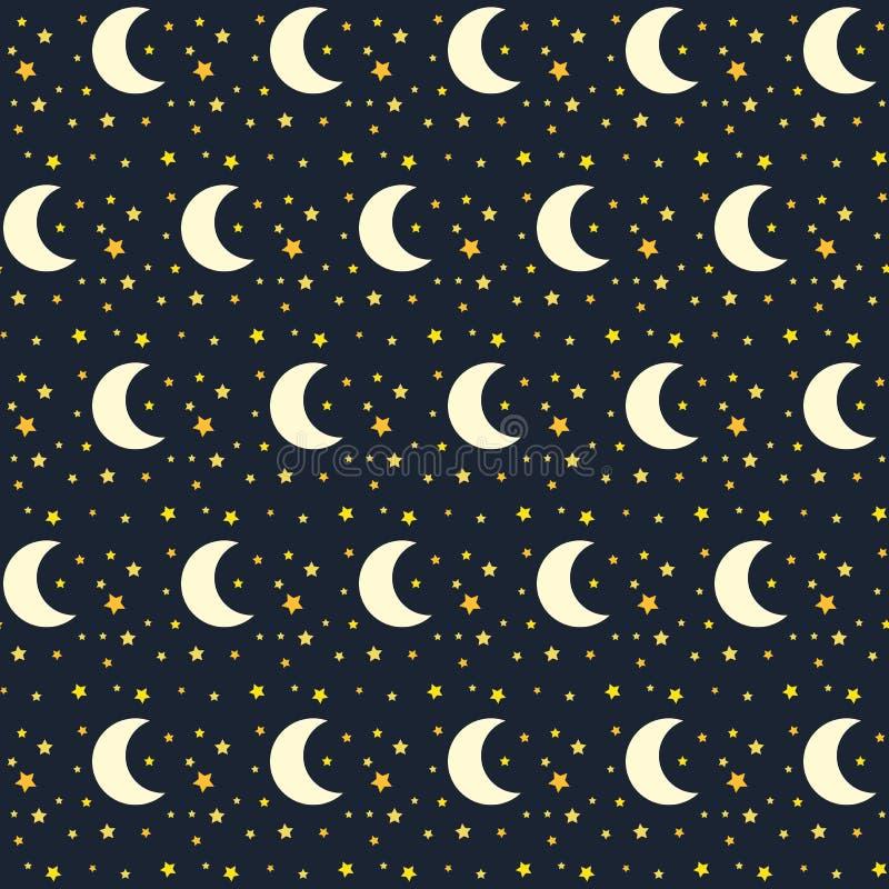 Безшовная картина ночного неба с звездами и луной иллюстрация штока