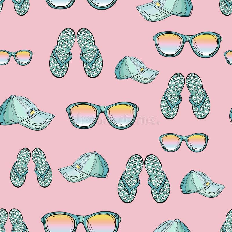 Безшовная картина одежд лета изолированных на розовой предпосылке иллюстрация штока