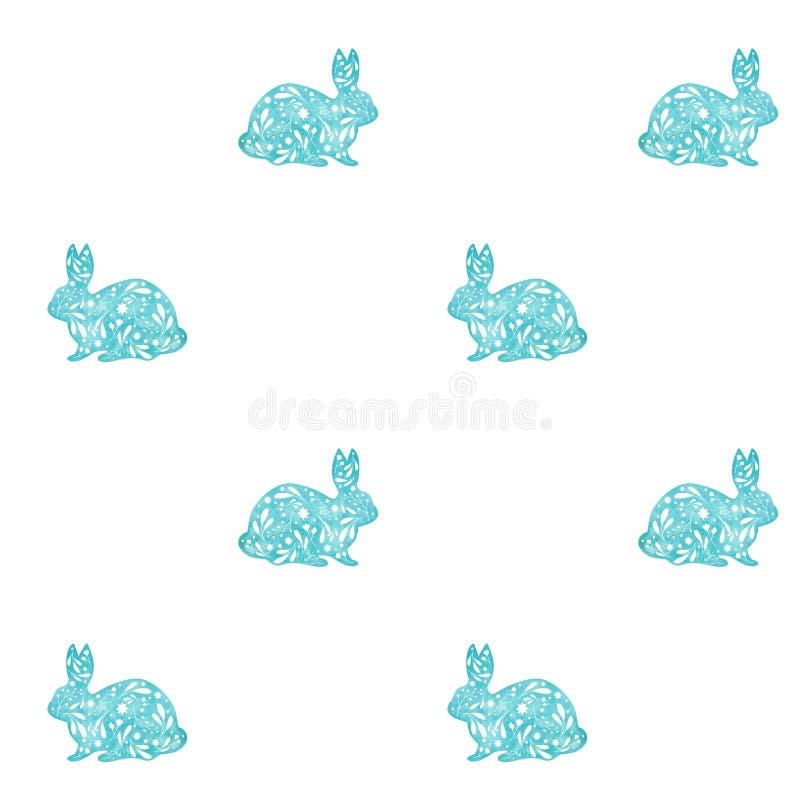 Безшовная картина орнаментальных голубых кроликов изолированных на белой предпосылке Иллюстрация пасхи акварели бесплатная иллюстрация