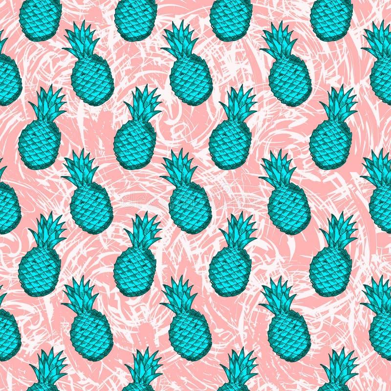 Безшовная картина от ананасов зеленого цвета притяжки руки на творческом иллюстрация штока
