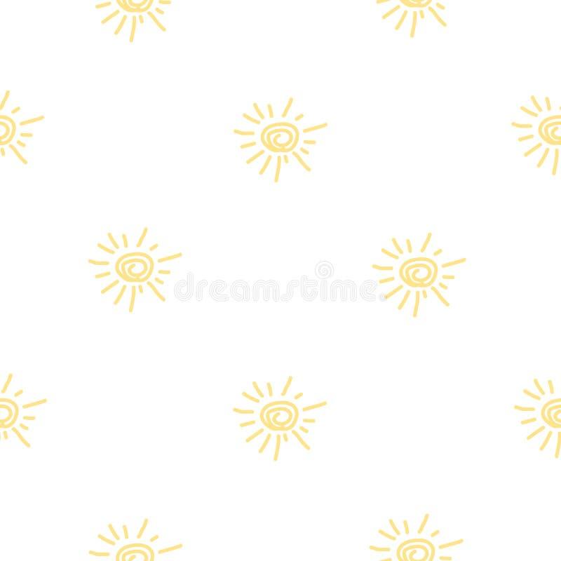 Безшовная картина от желтого солнца предпосылка цветастая иллюстрация вектора