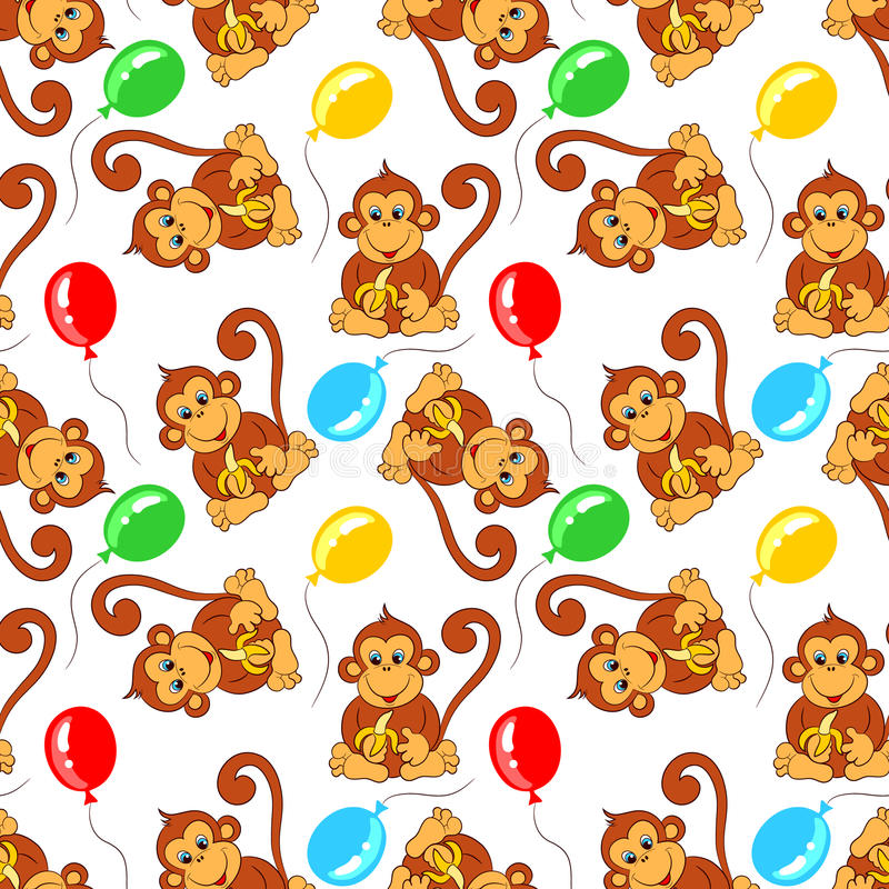 Безшовная картина от обезьяны с бананом и воздушными шарами иллюстрация штока