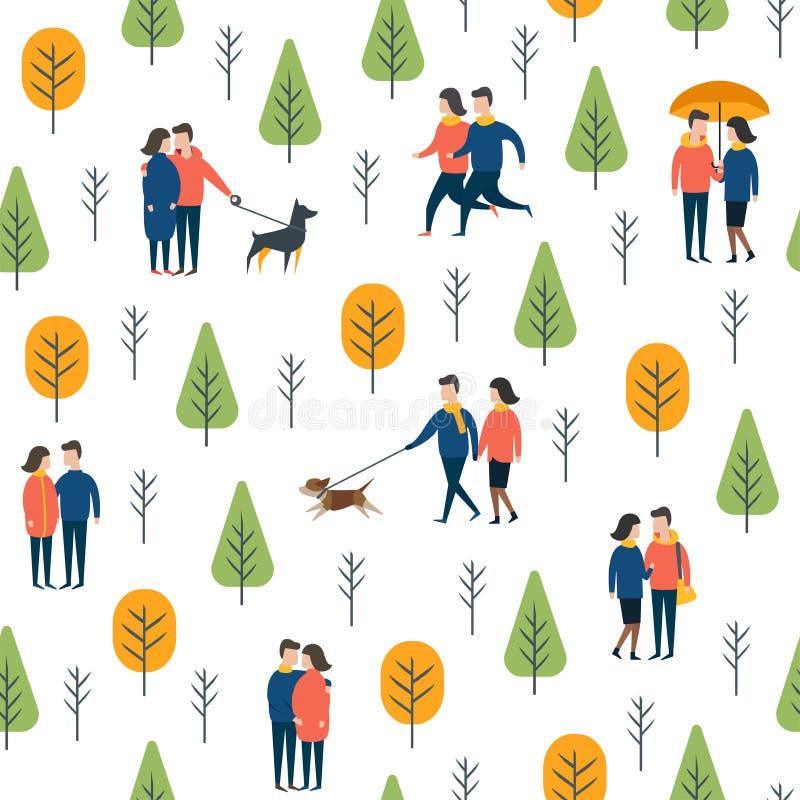 Безшовная картина парка Люди собаки вектора идя иллюстрация вектора