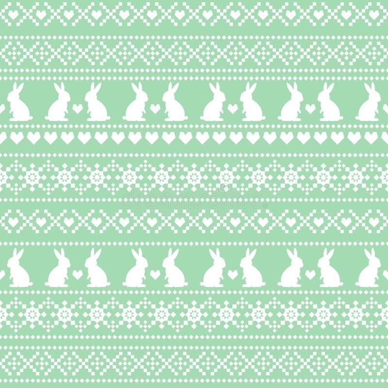 Безшовная картина пасхи, карточка - скандинавский стиль свитера Зеленая и белая предпосылка праздника весны вектора иллюстрация вектора