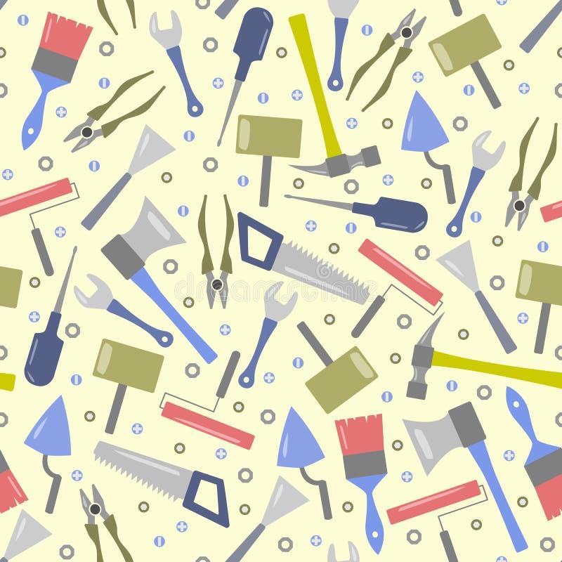 Безшовная картина пестротканых инструментов иллюстрация вектора