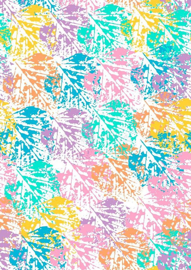 Безшовная картина печатей лист иллюстрация вектора