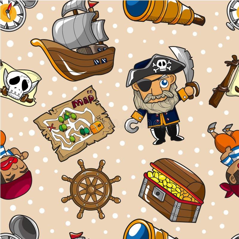 Безшовная картина пирата иллюстрация штока