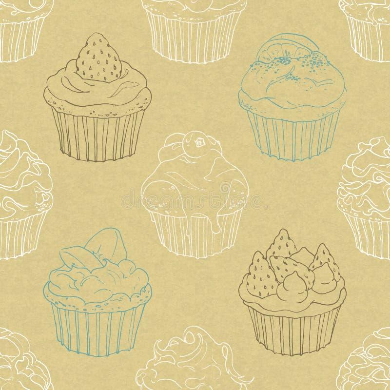 Безшовная картина пирожных бесплатная иллюстрация