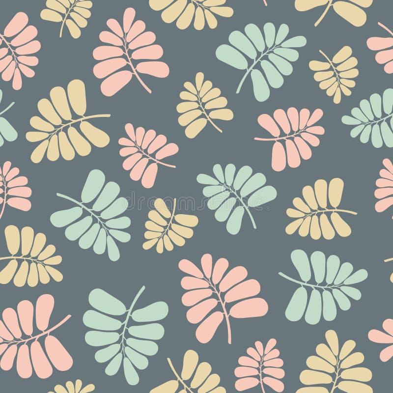 Безшовная картина повторения вектора пастельных листьев ладони Сладкий поверхностный дизайн картины иллюстрация вектора