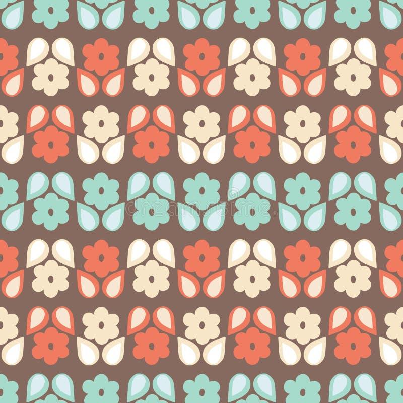 Безшовная картина повторения стилизованных ретро цветков и листьев в геометрической картине Винтажный флористический дизайн векто бесплатная иллюстрация
