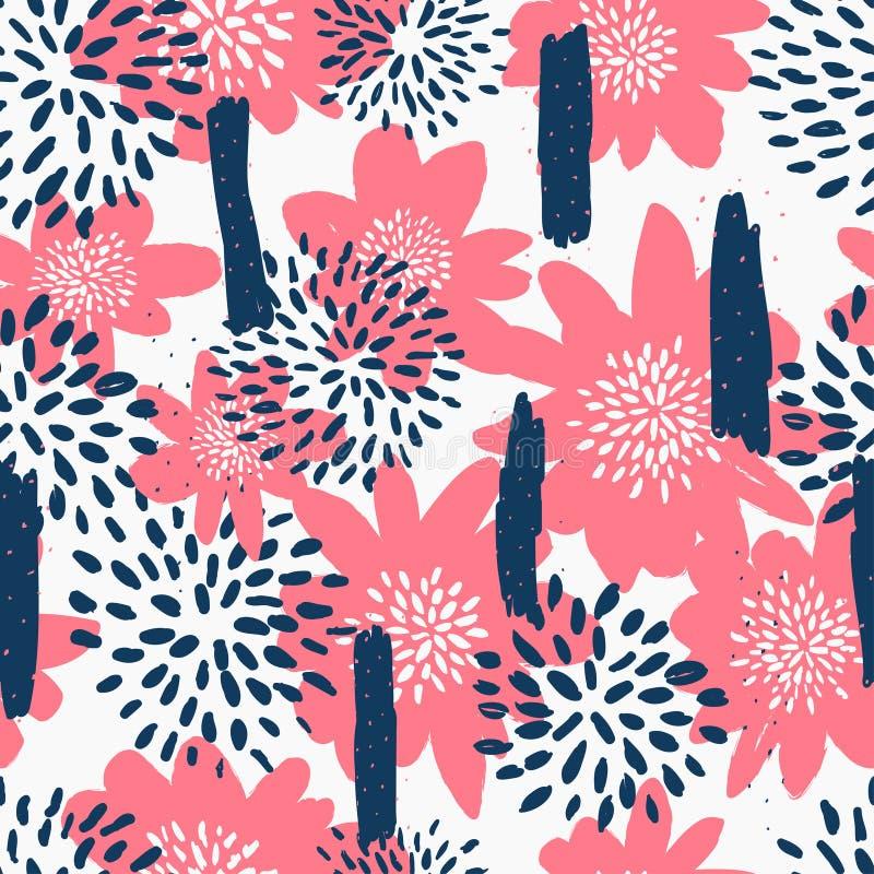 Безшовная картина повторения с цветками в голубом и пастельном пинке на белой предпосылке Ткань, обруч подарка, дизайн искусства  иллюстрация штока
