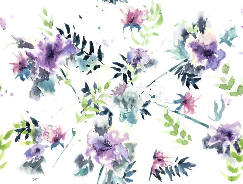 Безшовная картина покрасила мульти--c разбросанное акварелью выразительное иллюстрация штока
