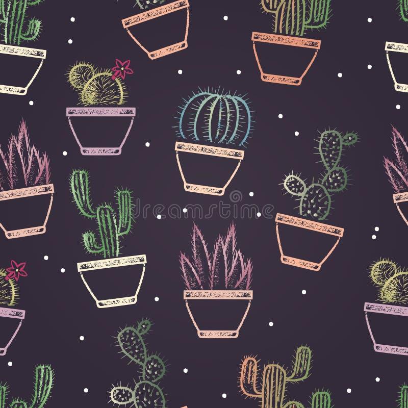 Безшовная картина покрашенного мела покрасила различные кактусы в баках Засаживает тему бесплатная иллюстрация