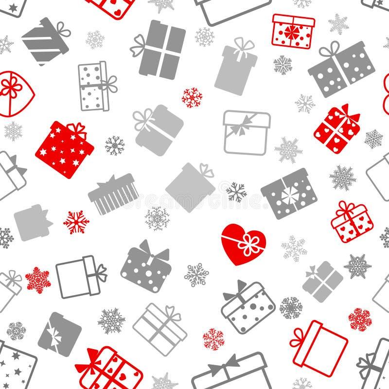 Безшовная картина подарочных коробок иллюстрация штока