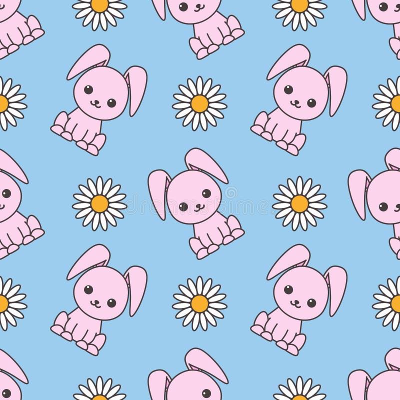 Безшовная картина предназначенная к пасхе с изображением кроликов и стоцветов цветастая иллюстрация бесплатная иллюстрация