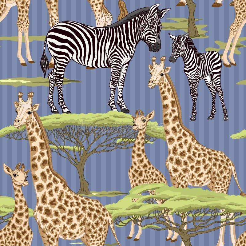Безшовная картина, предпосылка с взрослой зеброй и жираф и зебра и новички жирафа также вектор иллюстрации притяжки corel иллюстрация вектора